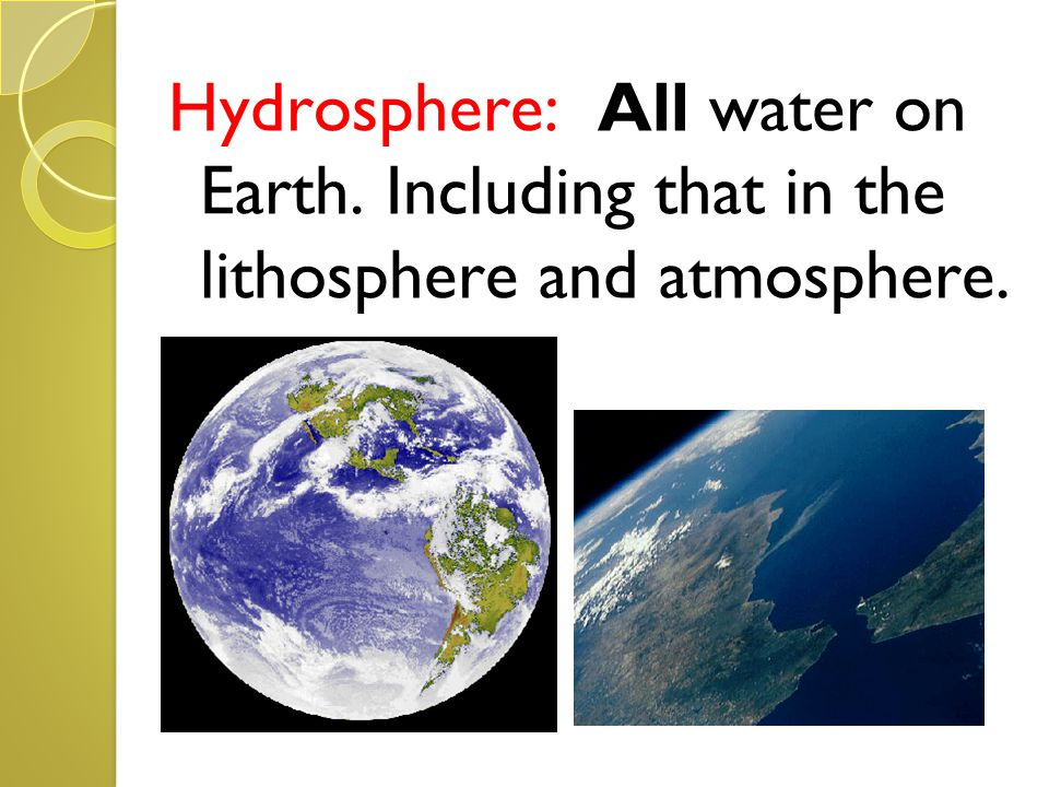 Hydrosphere: All water on Earth