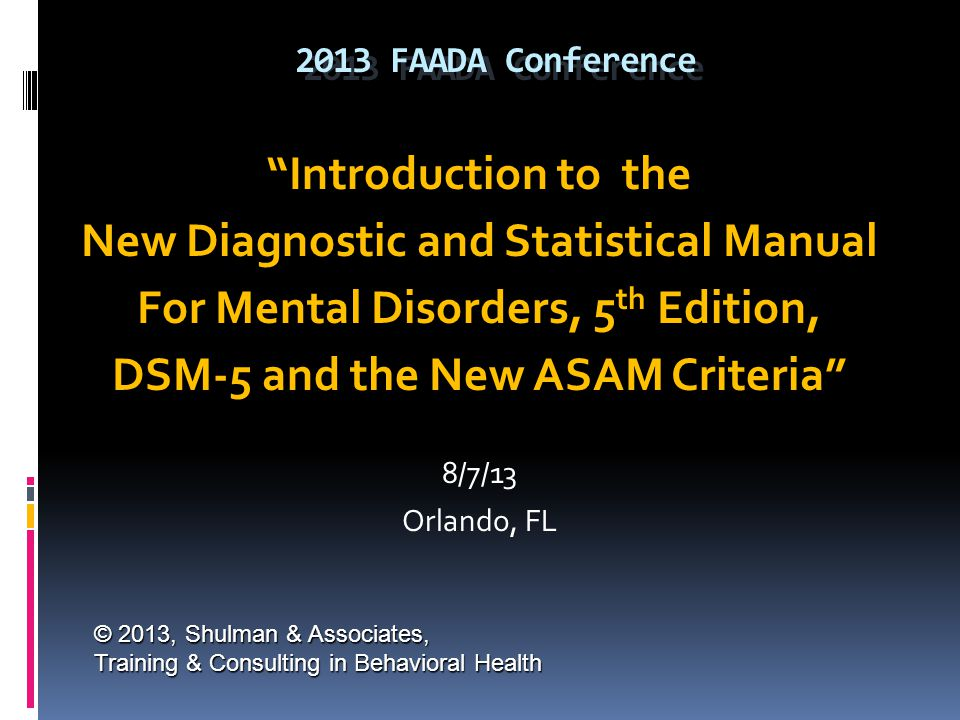 New Diagnostic and Statistical Manual