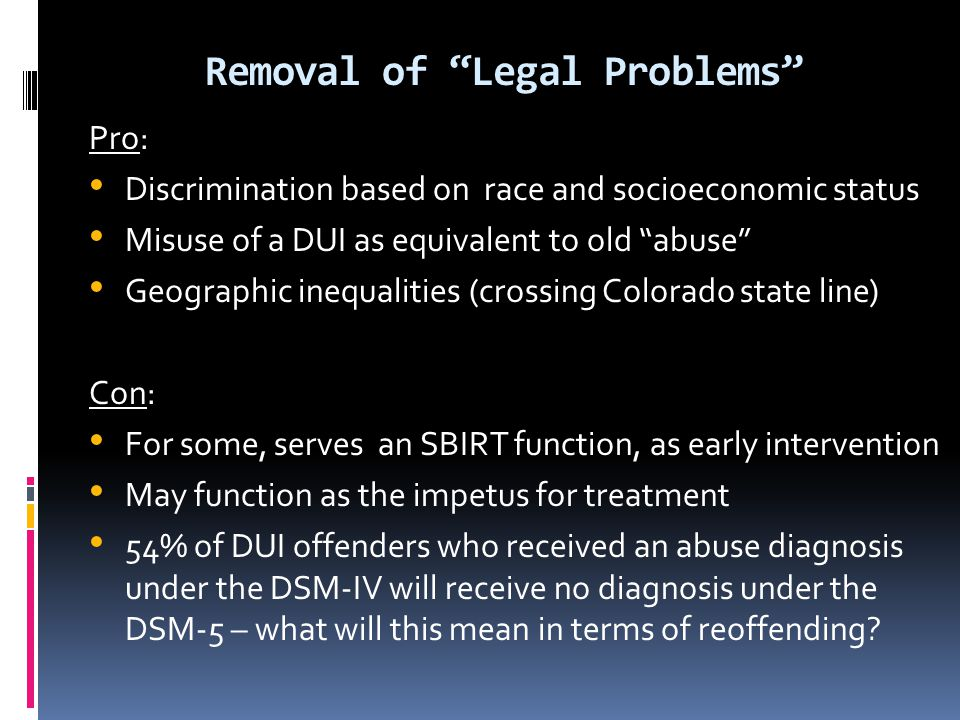 Removal of Legal Problems