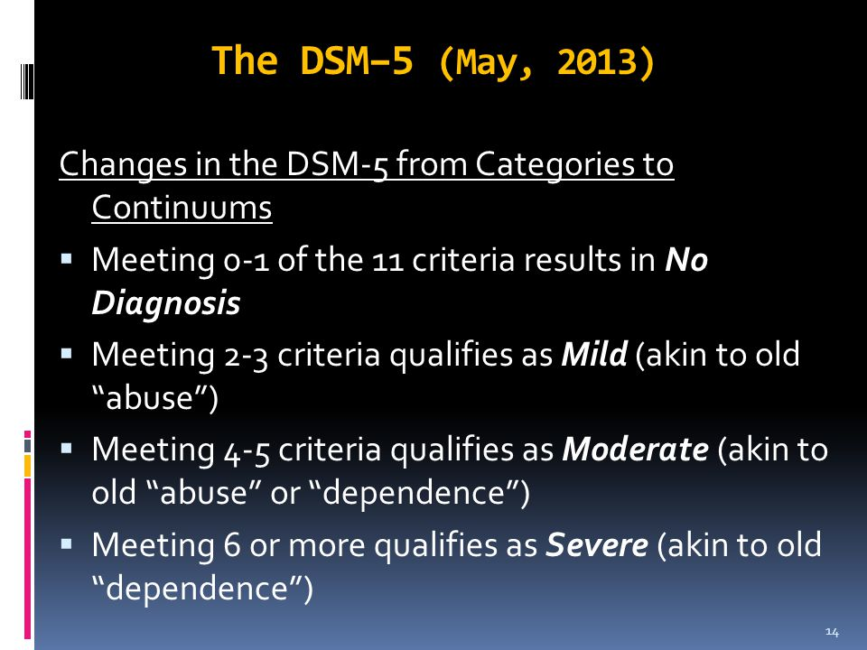 The DSM–5 (May, 2013) Changes in the DSM-5 from Categories to Continuums. Meeting 0-1 of the 11 criteria results in No Diagnosis.