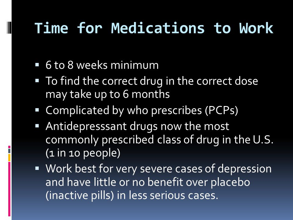 Time for Medications to Work