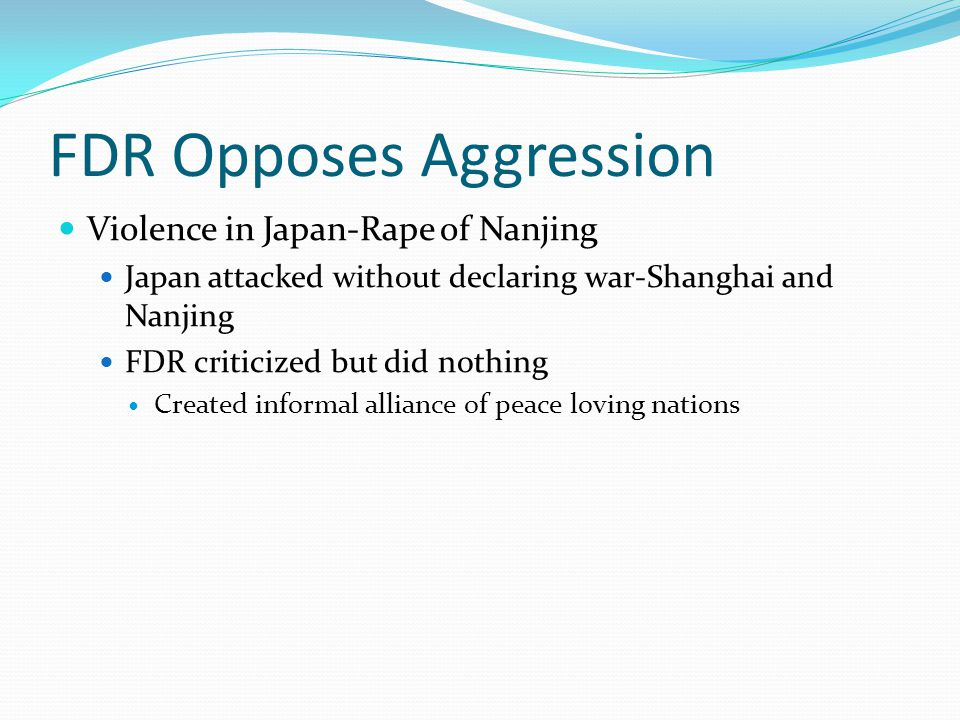FDR Opposes Aggression