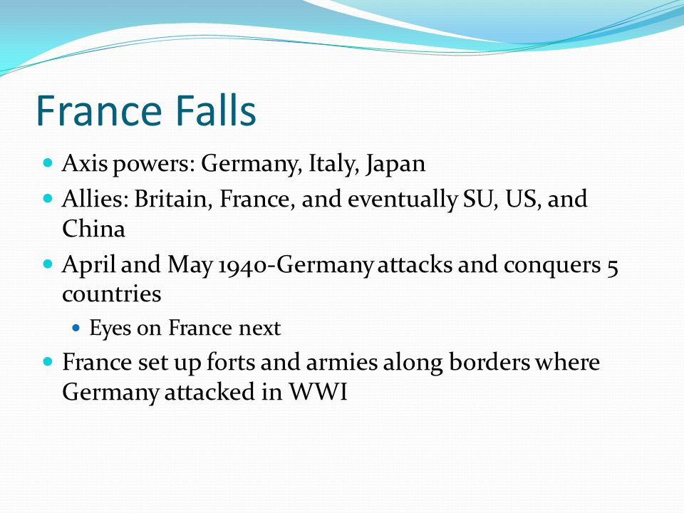 France Falls Axis powers: Germany, Italy, Japan