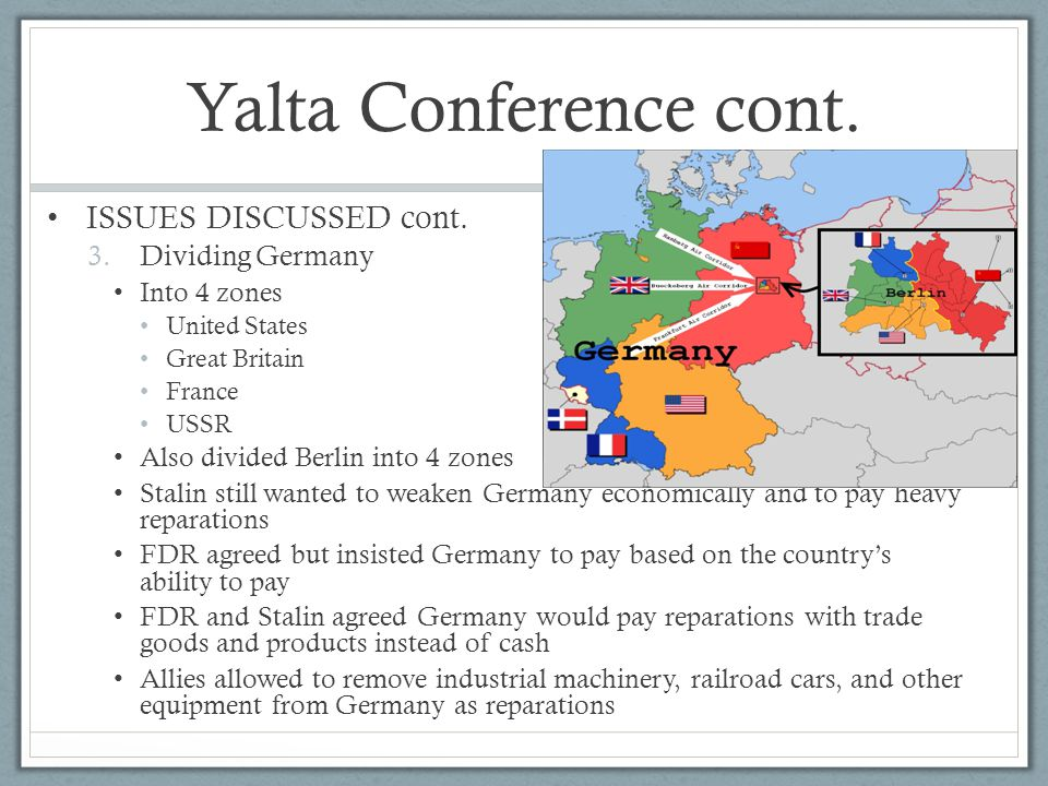 Yalta Conference cont. ISSUES DISCUSSED cont. Dividing Germany