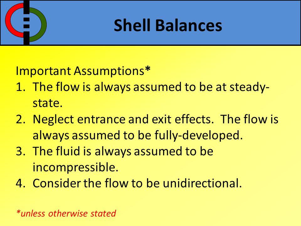 Shell Balances Important Assumptions*