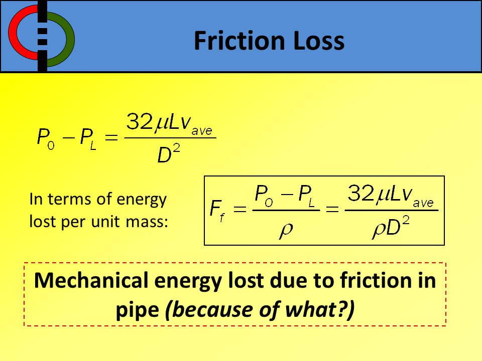 Mechanical energy lost due to friction in pipe (because of what )