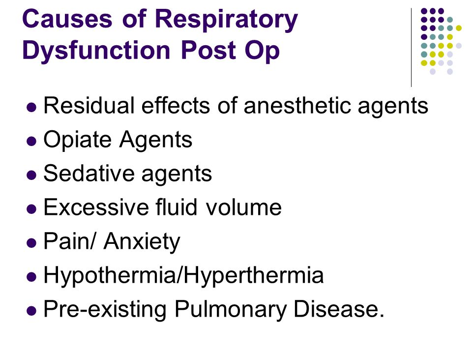 Causes of Respiratory Dysfunction Post Op