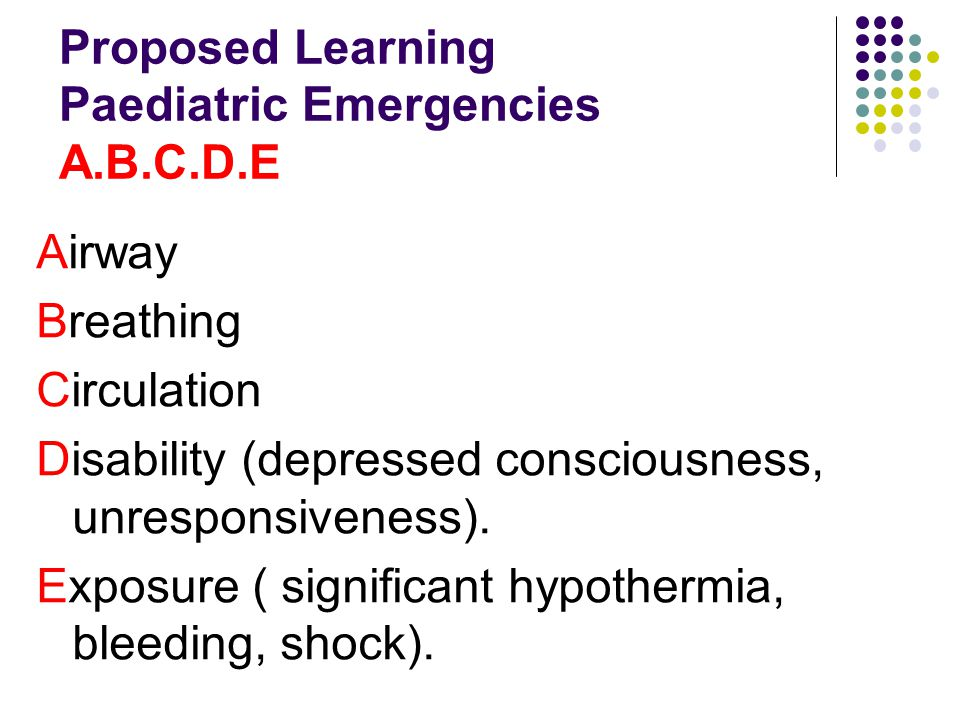 Proposed Learning Paediatric Emergencies A.B.C.D.E