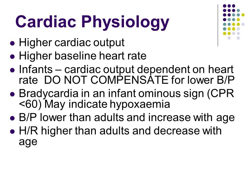 Cardiac Physiology Higher cardiac output Higher baseline heart rate