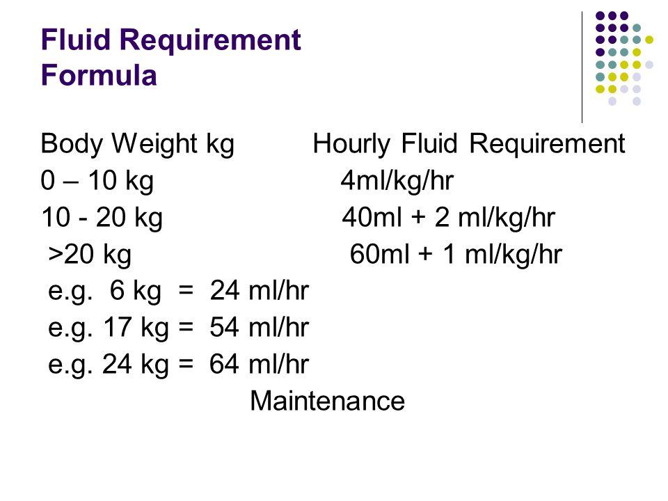 Fluid Requirement Formula