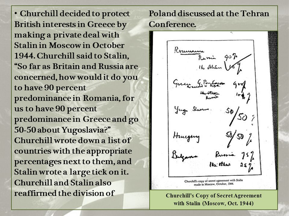 Churchill's Copy of Secret Agreement with Stalin (Moscow, Oct. 1944)