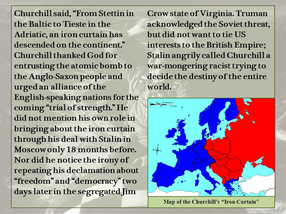 Map of the Churchill's Iron Curtain