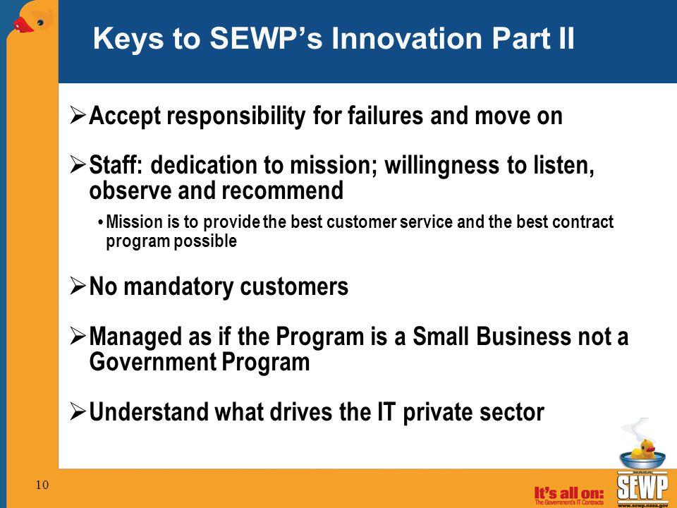 Keys to SEWP's Innovation Part II