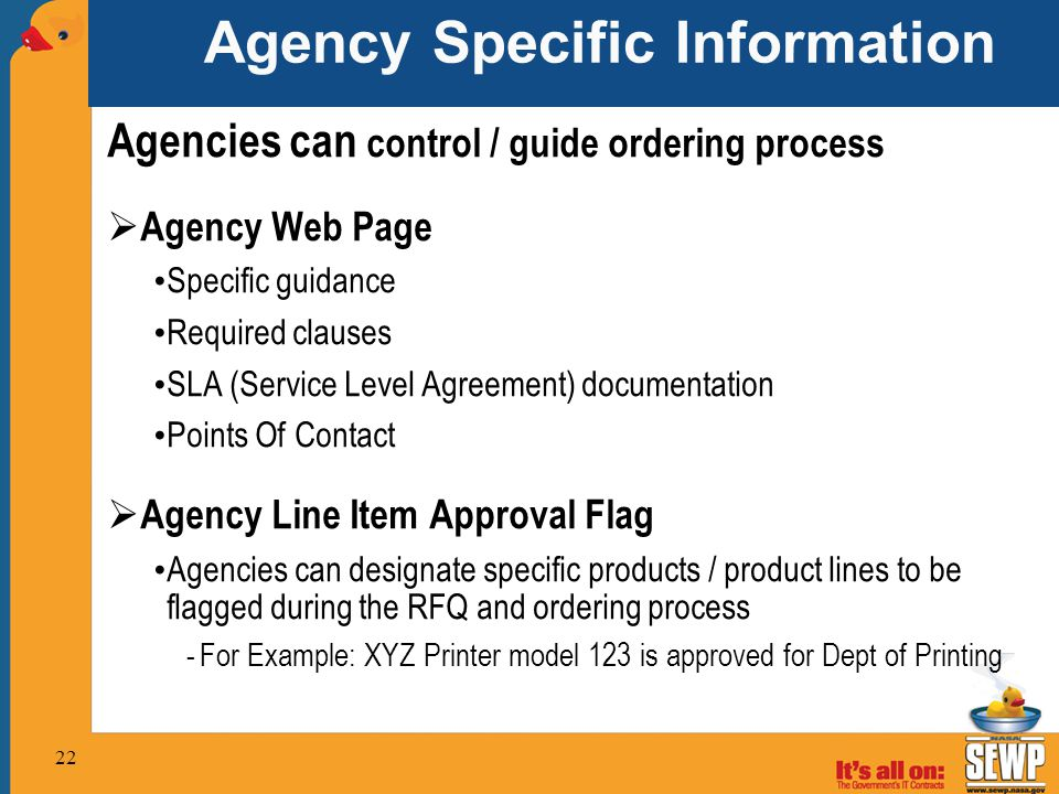 Agency Specific Information