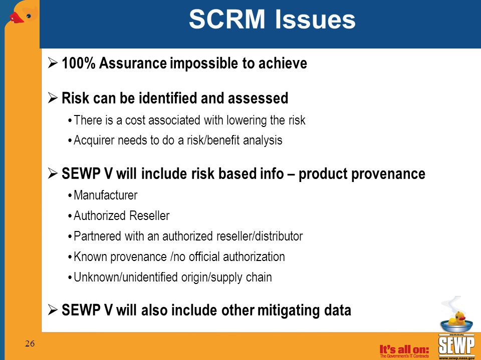 SCRM Issues 100% Assurance impossible to achieve