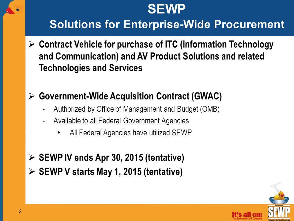 SEWP Solutions for Enterprise-Wide Procurement