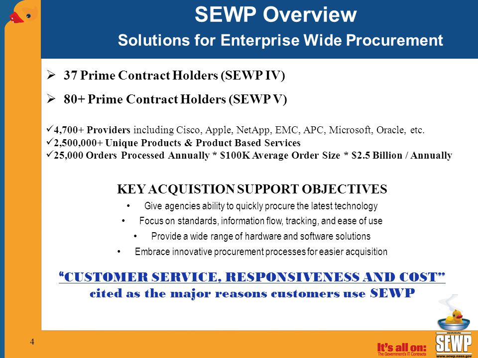 SEWP Overview Solutions for Enterprise Wide Procurement