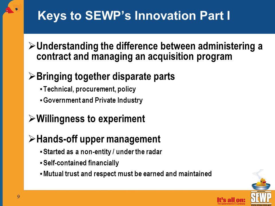 Keys to SEWP's Innovation Part I