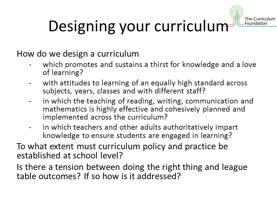 Designing your curriculum