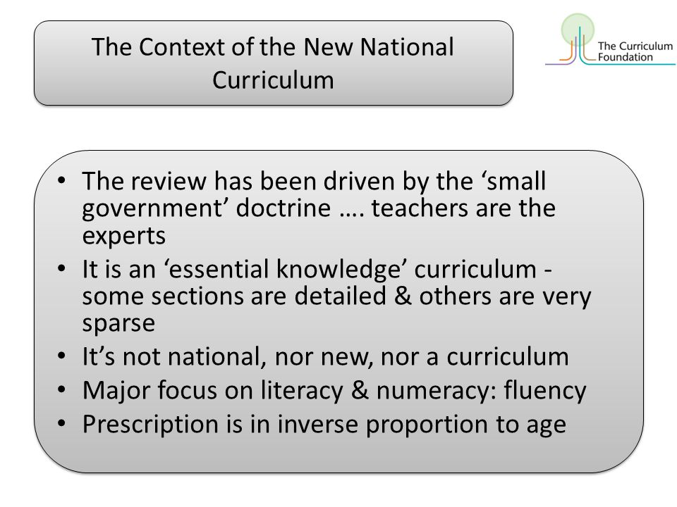 The Context of the New National Curriculum