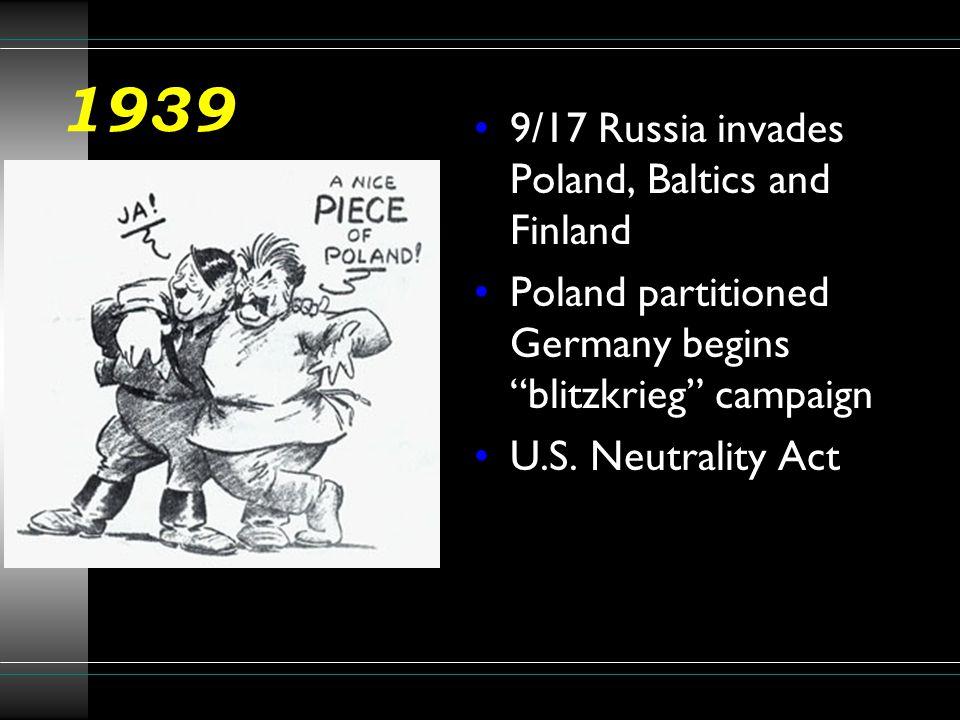 1939 9/17 Russia invades Poland, Baltics and Finland