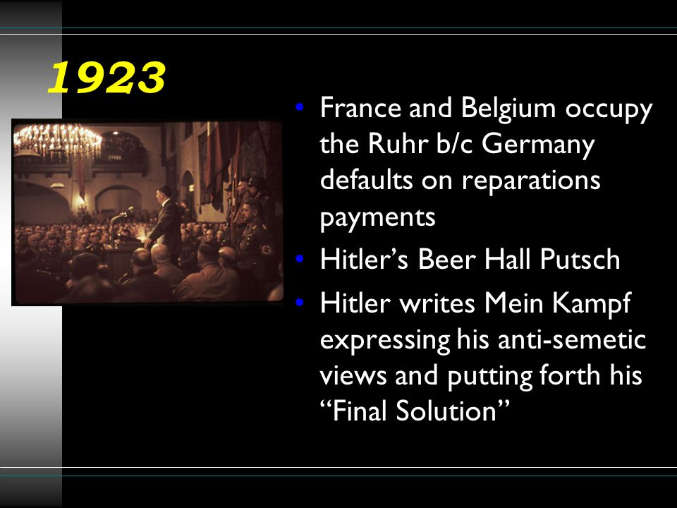 1923 France and Belgium occupy the Ruhr b/c Germany defaults on reparations payments. Hitler's Beer Hall Putsch.