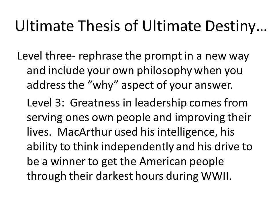 Ultimate Thesis of Ultimate Destiny…