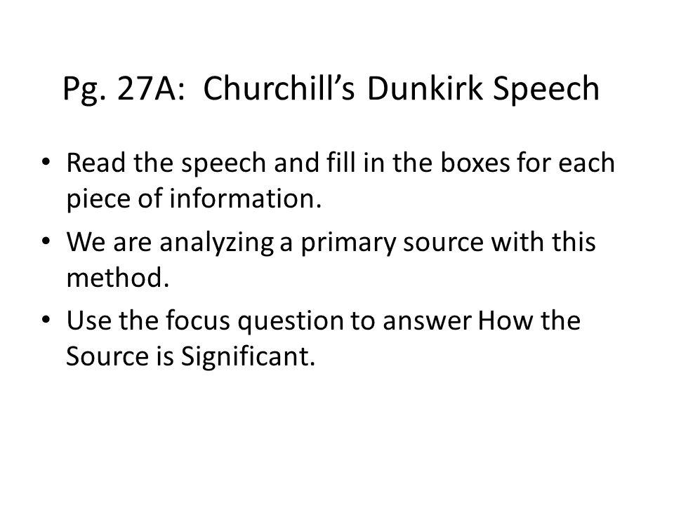 Pg. 27A: Churchill's Dunkirk Speech
