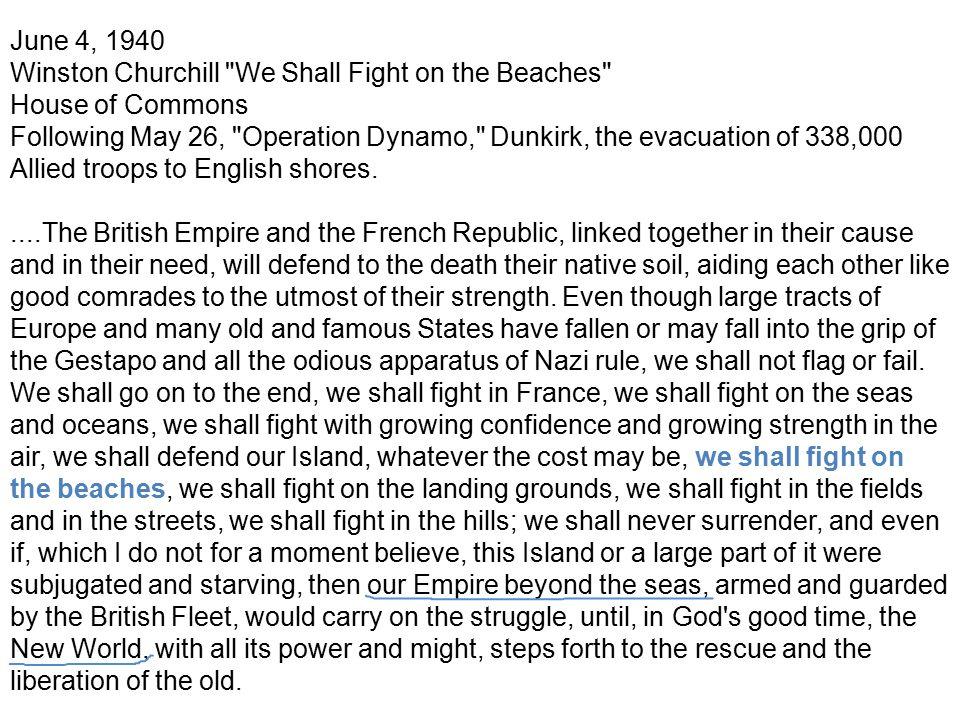 June 4, 1940 Winston Churchill We Shall Fight on the Beaches House of Commons.
