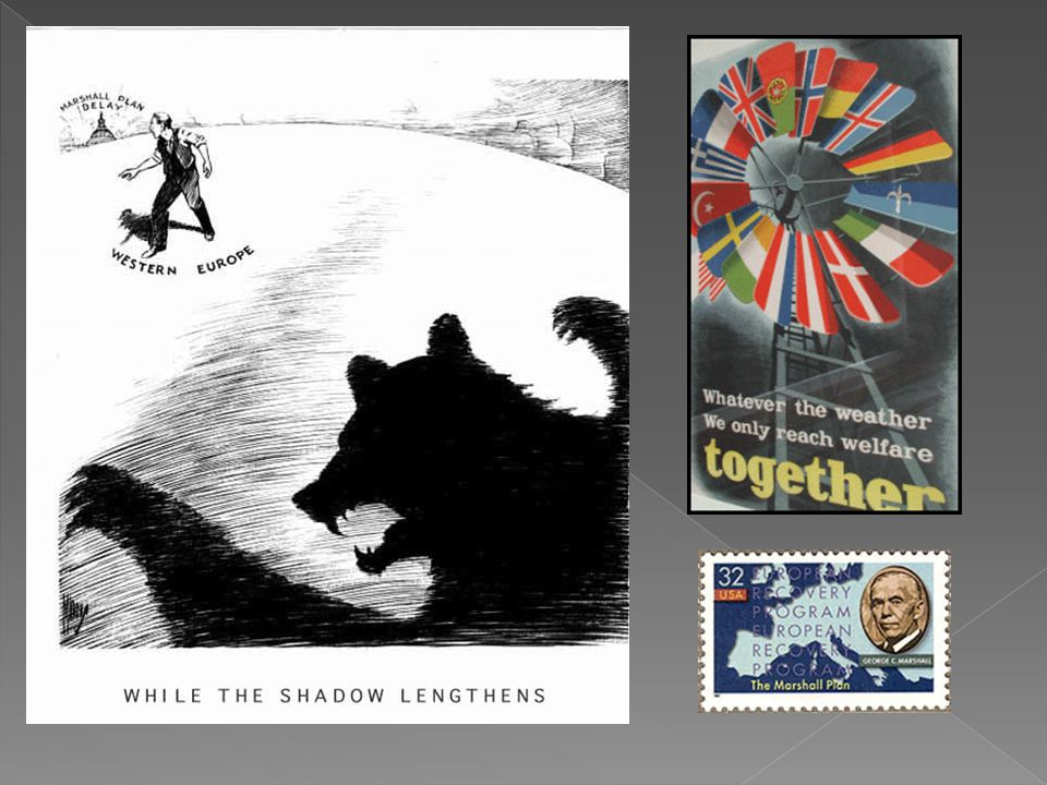 Propaganda posters and a stamp advertising the plan.
