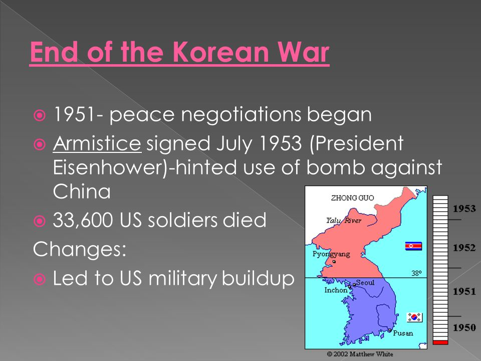 End of the Korean War 1951- peace negotiations began