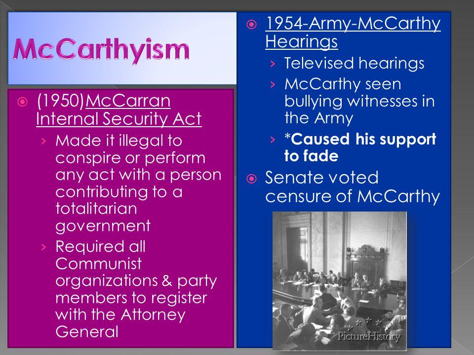 McCarthyism 1954-Army-McCarthy Hearings