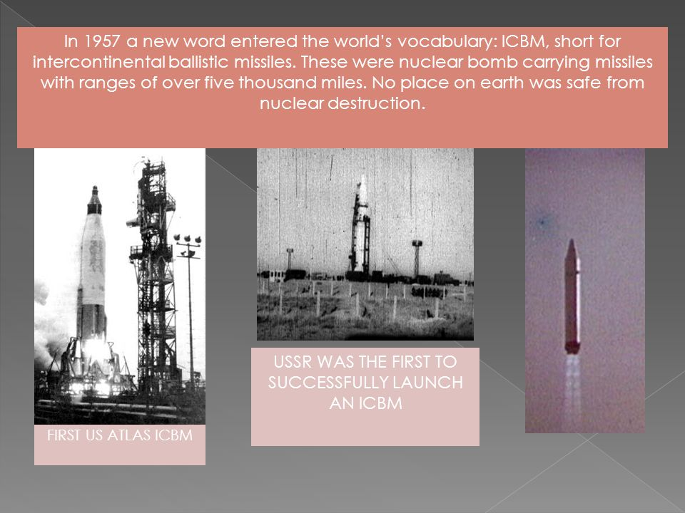 USSR WAS THE FIRST TO SUCCESSFULLY LAUNCH AN ICBM