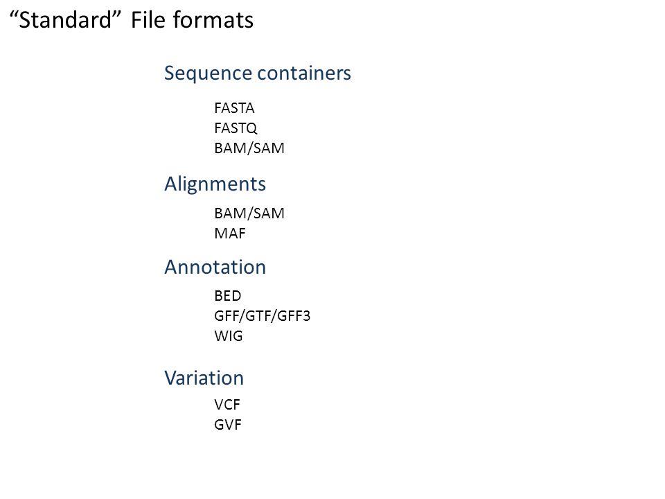 Standard File formats