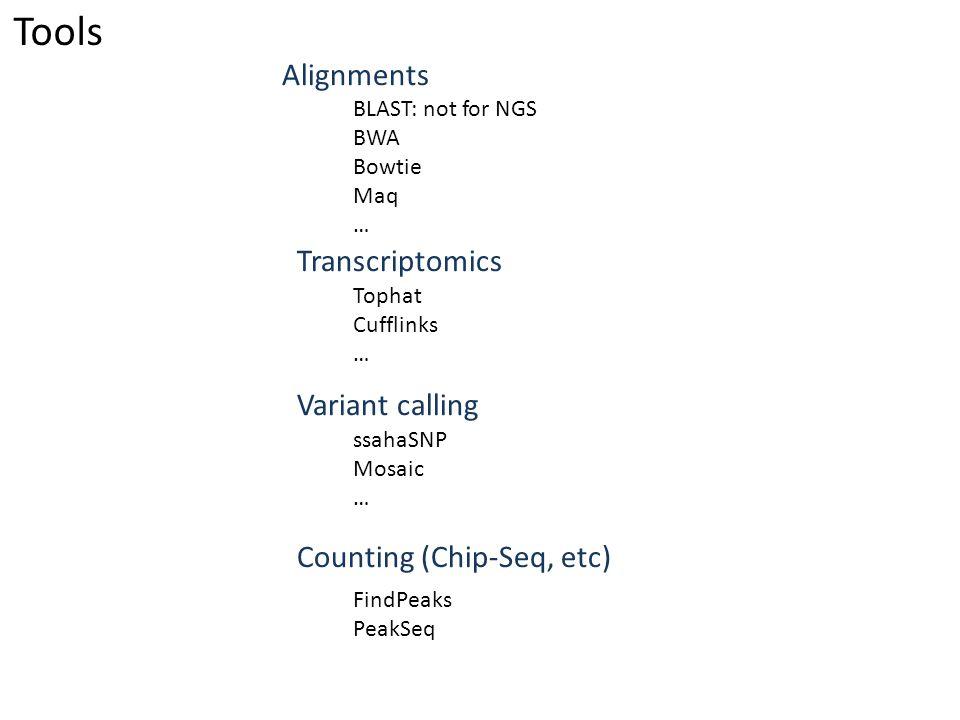 Tools Alignments Transcriptomics Variant calling