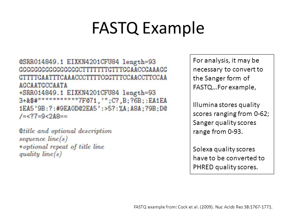 FASTQ Example For analysis, it may be necessary to convert to the Sanger form of FASTQ…For example,