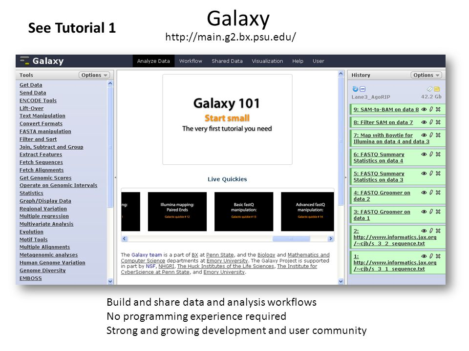 Galaxy See Tutorial 1 http://main.g2.bx.psu.edu/