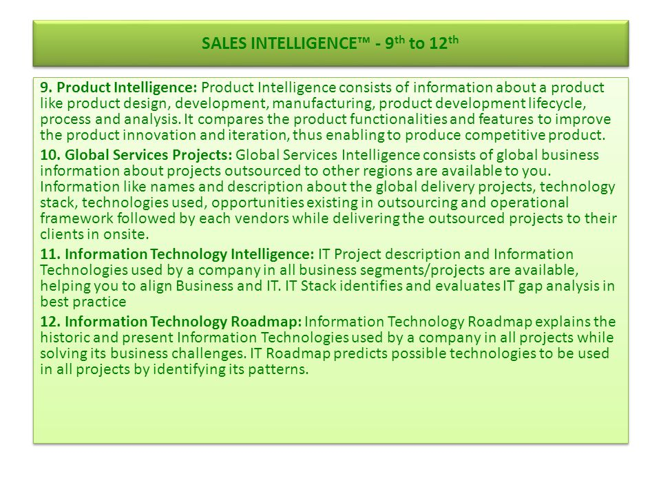SALES INTELLIGENCE™ - 9th to 12th