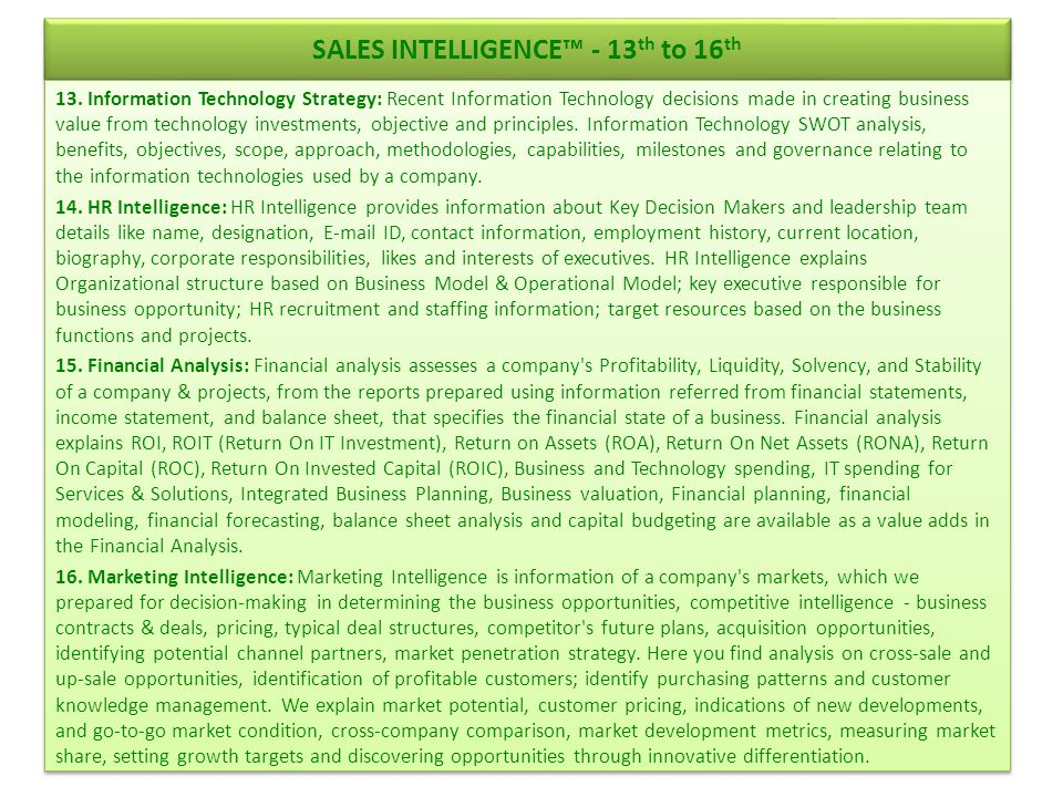 SALES INTELLIGENCE™ - 13th to 16th