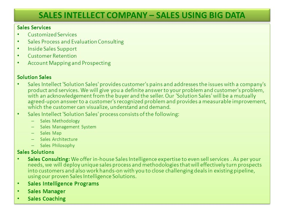 Sales Intellect Company – SALES USING BIG DATA