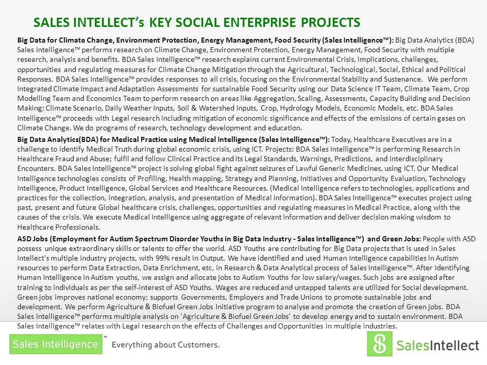 SALES INTELLECT's KEY SOCIAL ENTERPRISE PROJECTS