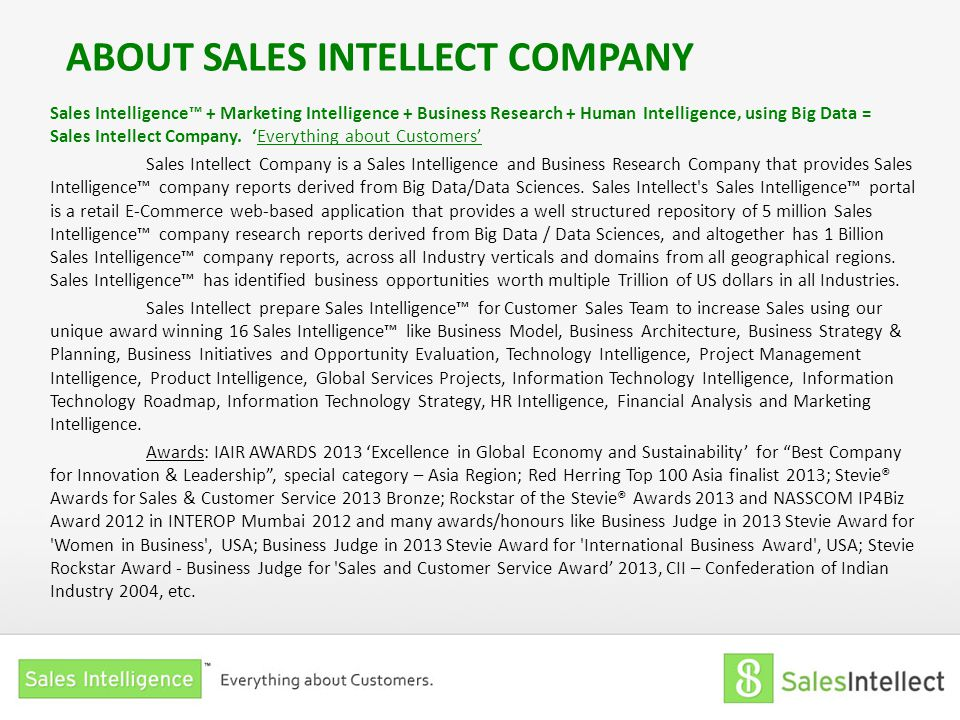 ABOUT SALES INTELLECT COMPANY