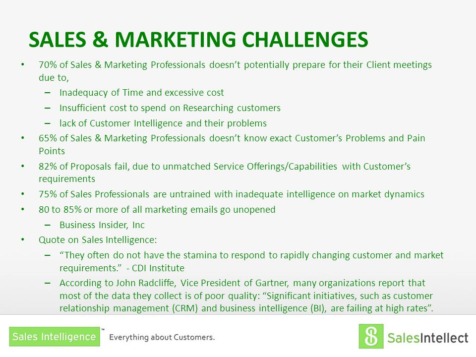 SALES & MARKETING CHALLENGES