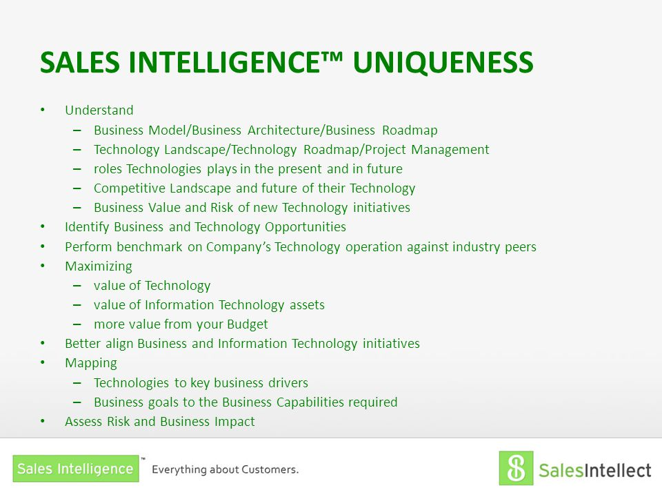 SALES INTELLIGENCE™ UNIQUENESS