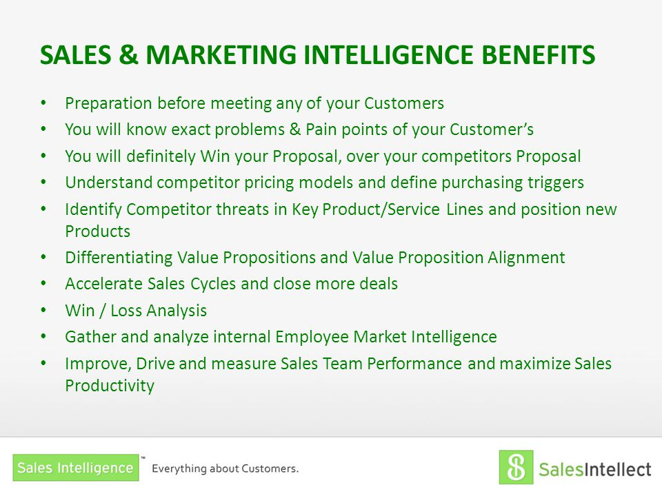 SALES & MARKETING INTELLIGENCE BENEFITS