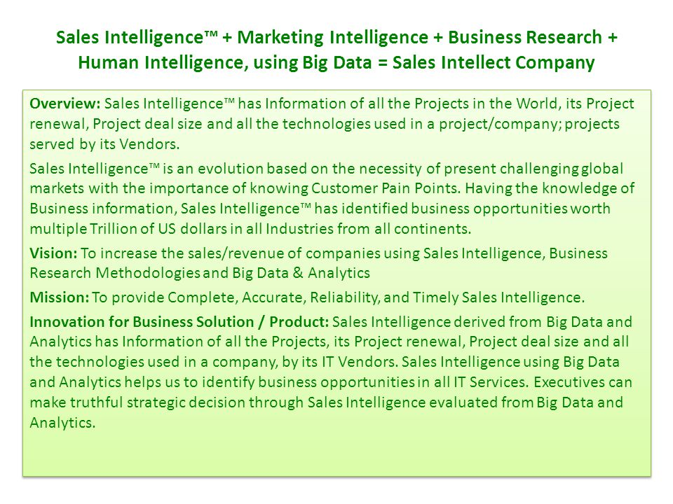 Sales Intelligence™ + Marketing Intelligence + Business Research + Human Intelligence, using Big Data = Sales Intellect Company