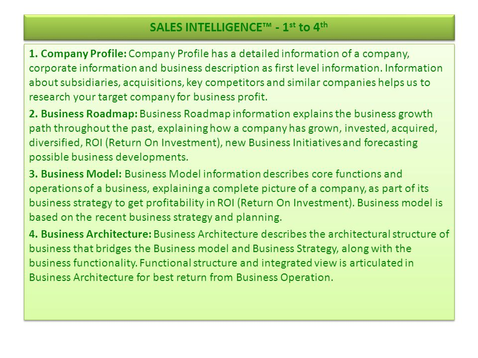 SALES INTELLIGENCE™ - 1st to 4th