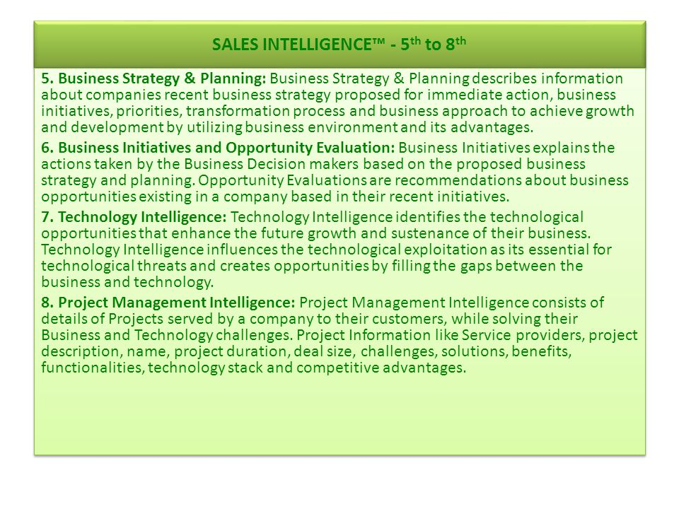 SALES INTELLIGENCE™ - 5th to 8th
