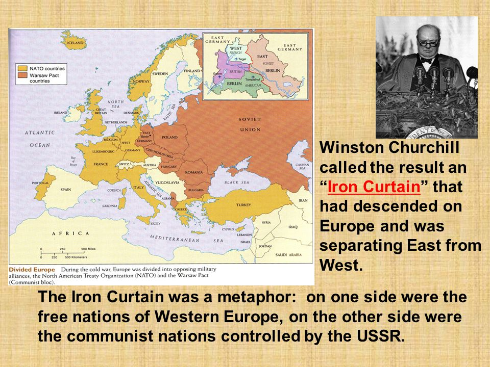 Winston Churchill called the result an Iron Curtain that had descended on Europe and was separating East from West.