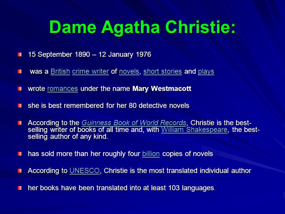 Dame Agatha Christie: 15 September 1890 – 12 January 1976